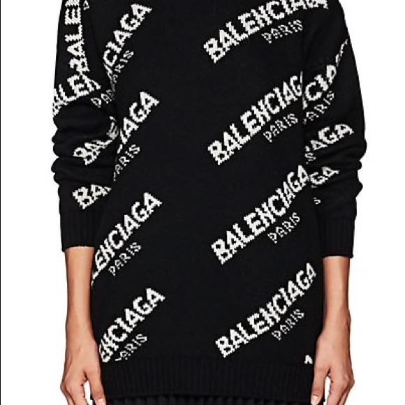 c29090c5be4c Balenciaga Sweaters - Balenciaga Jacquard Logo Crewneck Sweater Tunic